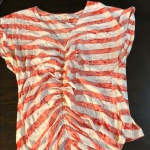 New York &Co Front Ruched Top Size L